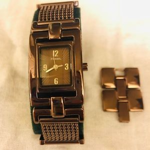 FOSSIL Brown Metal Link Watch with Square Face